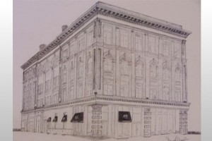Commission Drawing-  The Historic Flowers Building - Columbus, GA Graphite on Paper by Sarah West (2006)