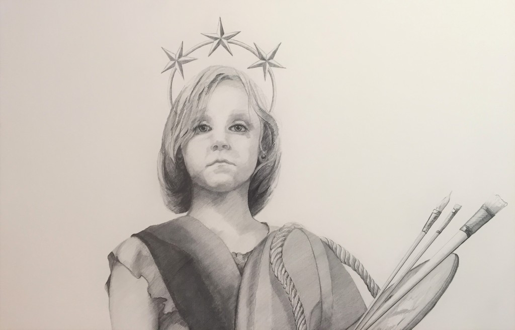"Little Liberty Girl | graphite sketch for painting II ""the Collision of Culture and Lack of Civility"" series -Sarah West (2016/2017)"