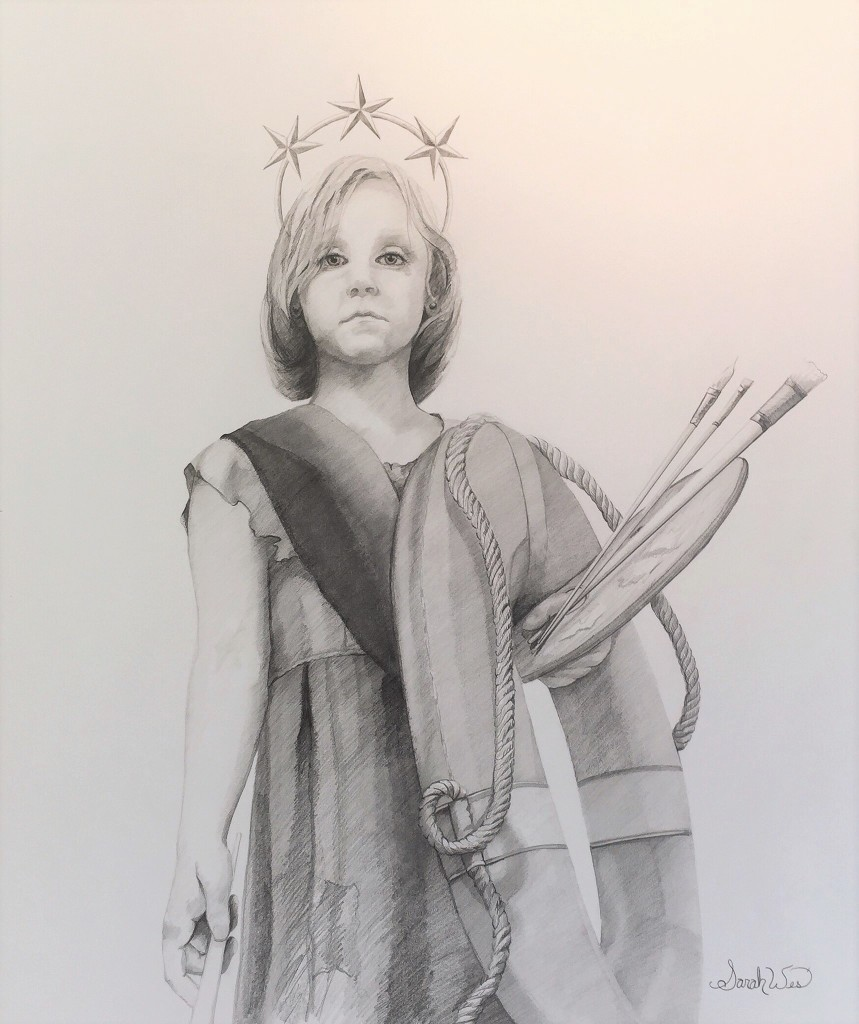 "Little Liberty Girl | graphite sketch for painting II ""the Colliosion of Culture and Lack of Civility"" series -Sarah West (2016-2017)"