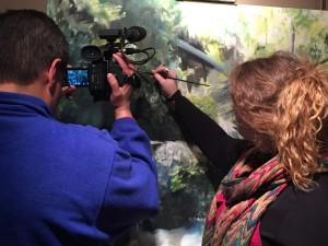 Sarah in studio, filming pilot edition of Art Walks