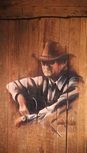 Jim Avett Oil on Vintage Barn Door by Sarah West (2014)