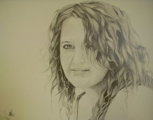 (early self portrait study) Graphite on Paper by Sarah West (2009)