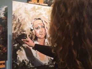 Sarah in studio, self-portrait (2015)