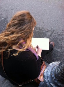 Sarah sketching along the Vieux Carre, New Orleans